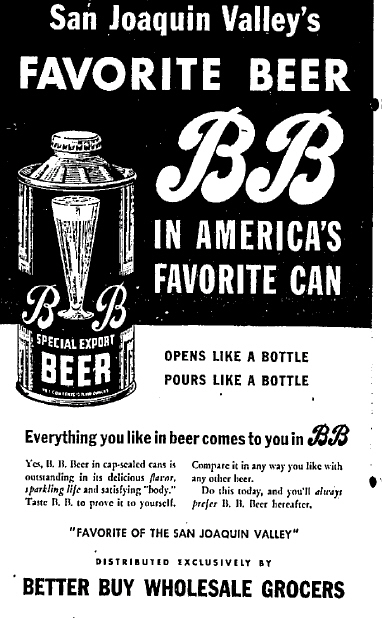 BB Beer 1937 ad.