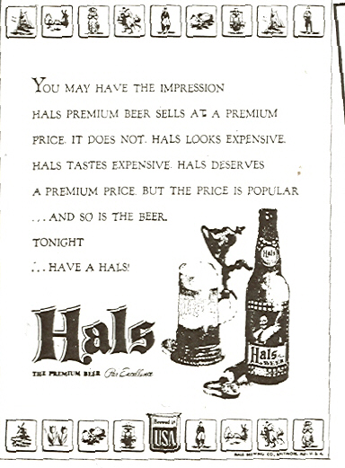 Hals newspaper ad.